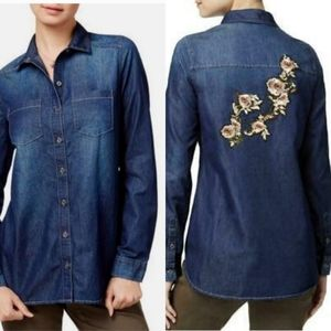 Polly & Esther Embroidered Button Up Denim Shirt